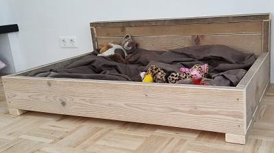 Hondenbank strak model steigerhout