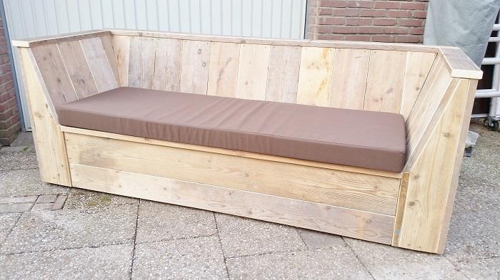 Loungebank steigerhout schuine armleuning