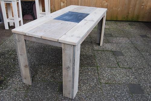 Tafels met hoekpoot - steigerhout