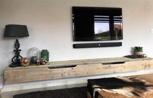 woonkamer: tv meubel steigerhout