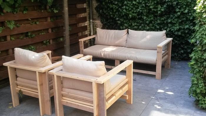 Tuin- en loungebank: tuinset steigerhout