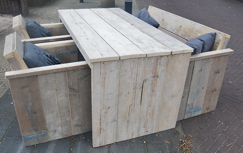 Tuinset steigerhout - u vorm met tuinbank